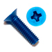 Blue Flat Head Phillips Machine Screws 100 Degree