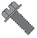 Slotted Indented Hex Washer Head Machine Screw Fully Threaded Black Oxide