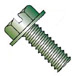 Slotted Indented Hex Washer Head Machine Screw Fully Threaded Zinc and Green